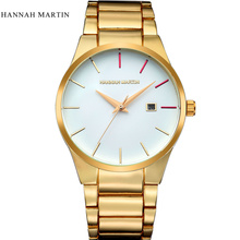 цена на relogio masculino Hannah Martin Luxury Brand Full Stainless Steel Analog Display Date Men Quartz Watch Business Watch Men Watch