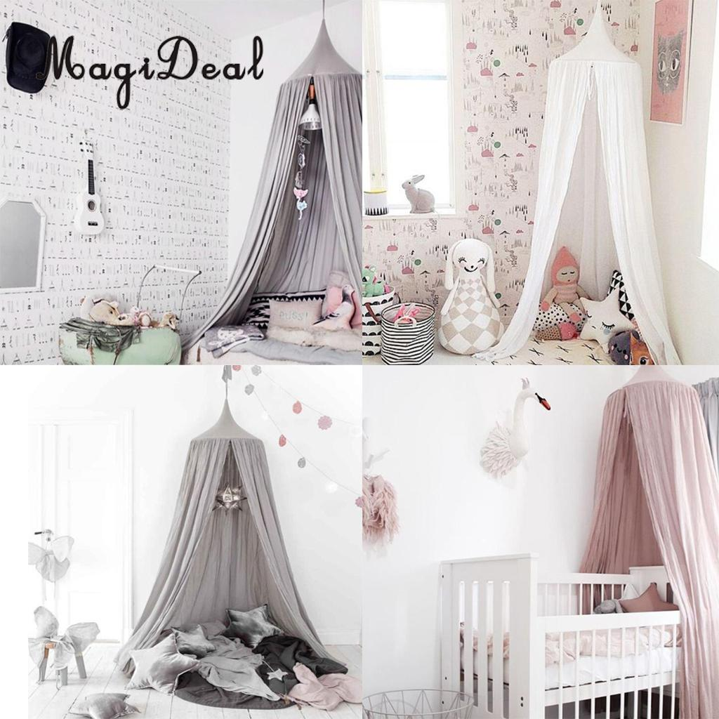 Round Hung Dome Bed Canopy Cotton Mosquito Netting Curtain Kids Nursery Home Room Decor Grey/Pink/White