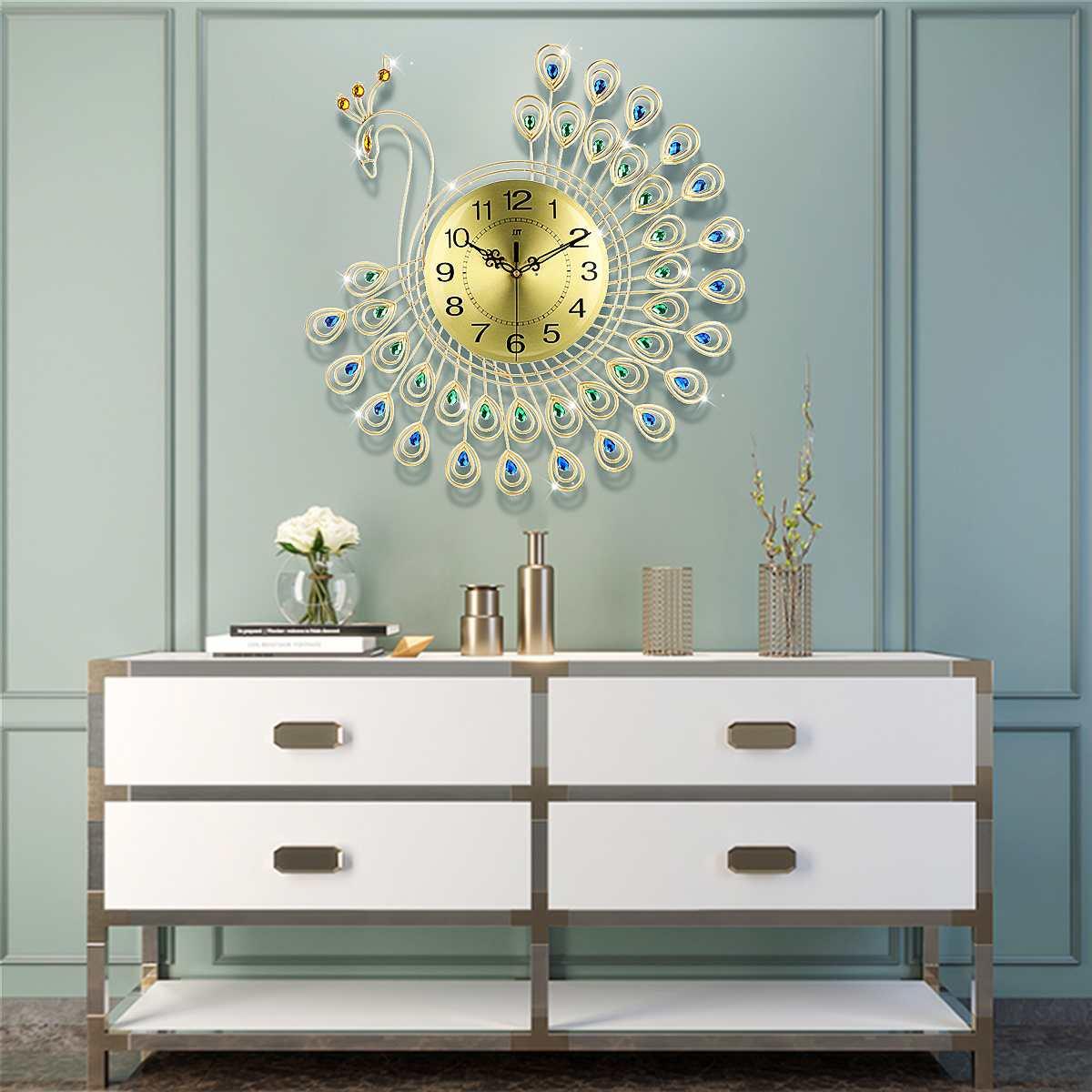 53 cm Grande 3D Ouro Diamante Pavão Design Moderno Relógio de Parede Silencioso Clocks Home Decor Estilo Europeu Pendurado Relógio de Parede relógios