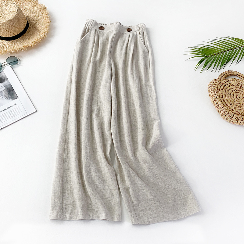 ZADORIN 2019 Summer Trousers Women Elegant High Waist Cotton Linen   Wide     Leg     Pants   White Black Flare Palazzo   Pants   Pantalon Femme
