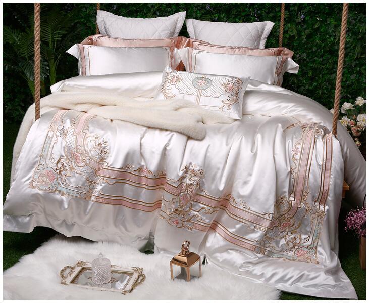 화이트 실크 코튼 럭셔리 침구 세트 퀸 킹 사이즈 침대 세트 이집트 면화 침대/장착 시트 이불 커버 침대 세트 parure de lit-에서침구 세트부터 홈 & 가든 의  그룹 1