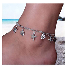 цена на Crazy Feng Starfish Turtle Anklets Multiple Layered Boho Gold Chain Anklet Flower Beach Stone Charm Anklet Women Foot Jewelry