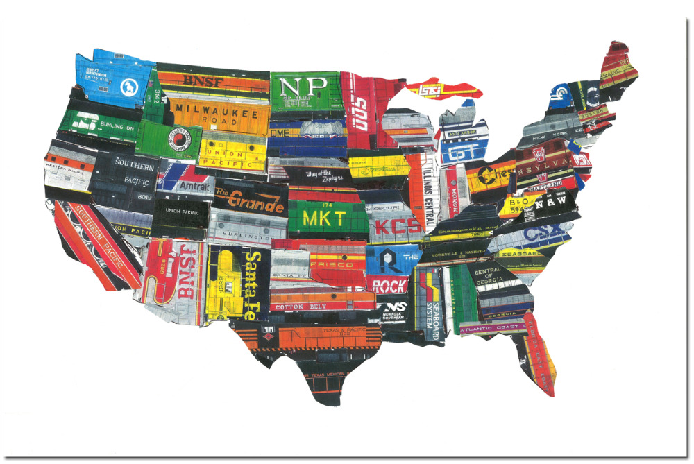 Pop Art Map Of The United States Classic Vintage Retro Kraft - Us product map