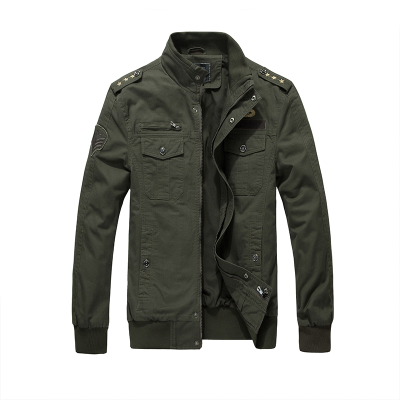 2017 New Autumn Men's Cotton Jackets Stand Collar Military Mens Jackets Casual Outerwear for Men Three stars badges Army Jacket