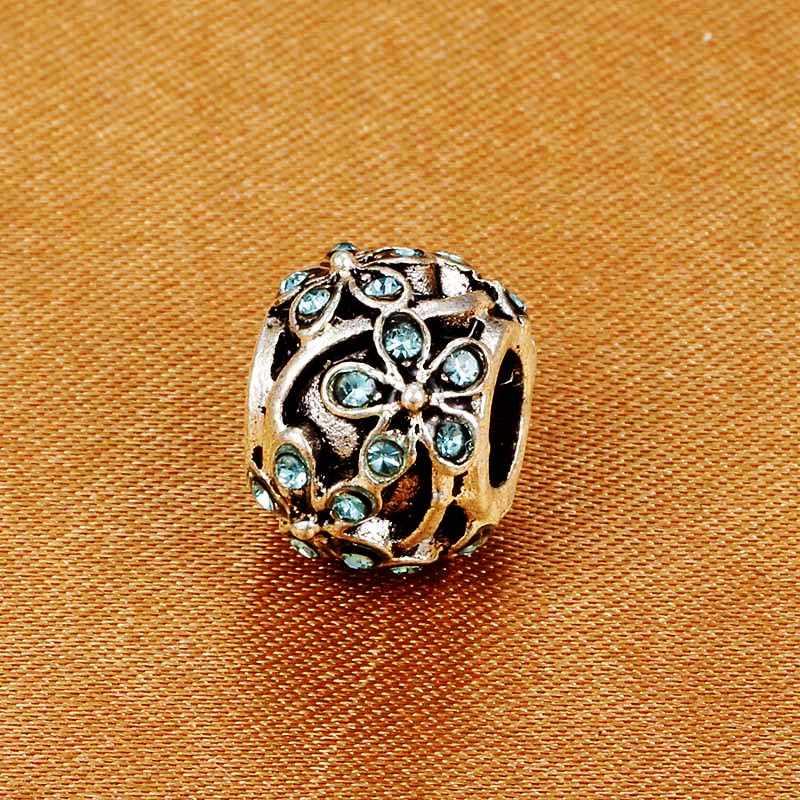 SPINNER kwiat kryształowe koraliki Charms pave AAA cyrkon Charms Fit Pandora Charm bransoletki dla kobiet diy biżuteria prezent