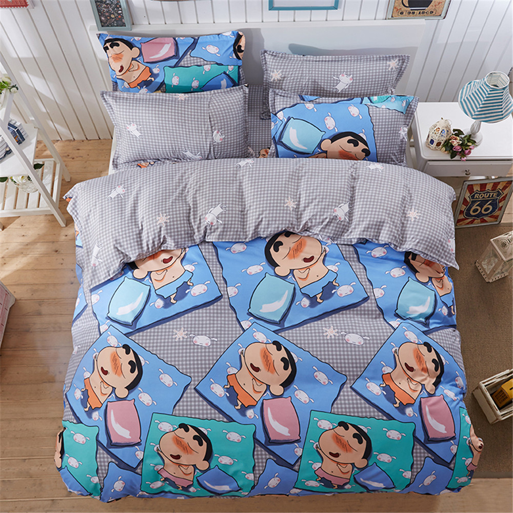 Funny bed sheets - Japanese Cartoon Character Kids Bedding Sets 4pc Gray Duvet Cover Printing Blue Funny Figure Full Twin