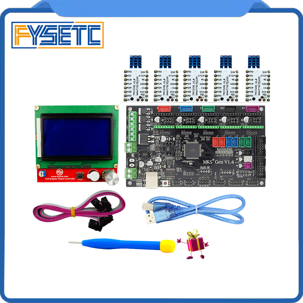 MKS Gen V1.4 3D printer kit with MKS Gen V1.4 RepRap board +5pcs TMC2130 v1.0/TMC2208 v1.3 Stepstick Driver+12864 Graphic LCD