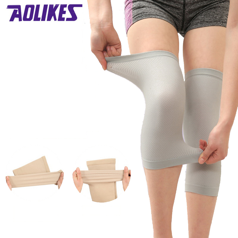 AOLIKES 1 Pair Nylon Thin Knee Brace Men Women S M L Elastic Knee Pad Support Compression Sleeves For Fitness Running Cycling