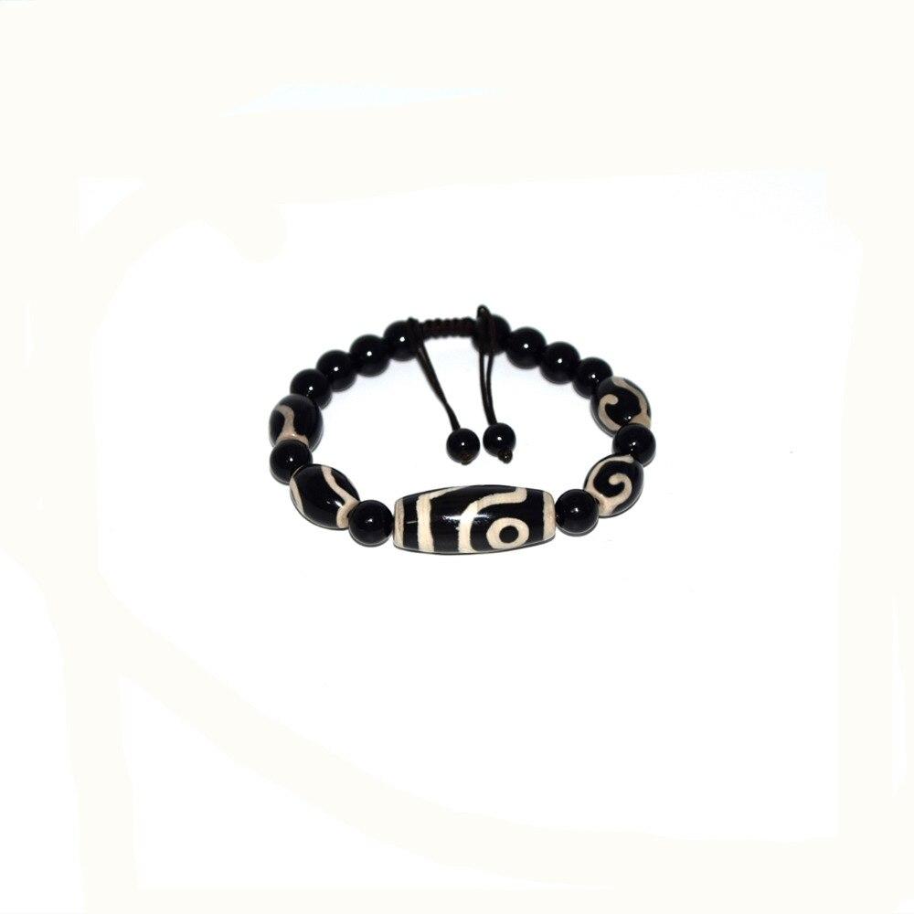 Tibet Agate Dzi Beads 12*29mm  Eyes Dzi With 10*14mm Money Hook DZI Weave String Bracelets For Men & Women Free Shipping