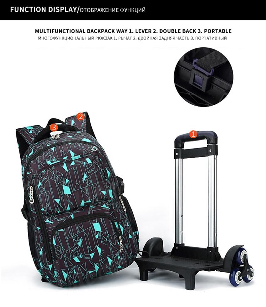 e26e3590dc ZIRANYU Kids boys girls Trolley Schoolbag Luggage Book Bags Backpack ...