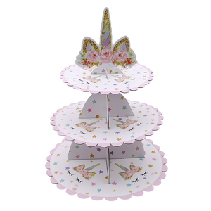 Image 3 - 1 PCS Unicorn Cake Stand Three Layers Unicorn  Birthday Party Supplies Dessert Stands Wedding Party Favors