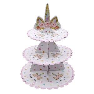 Image 3 - 1 adet Unicorn kek standı üç katmanlar Unicorn doğum günü partisi malzemeleri tatlı standları düğün parti iyilik