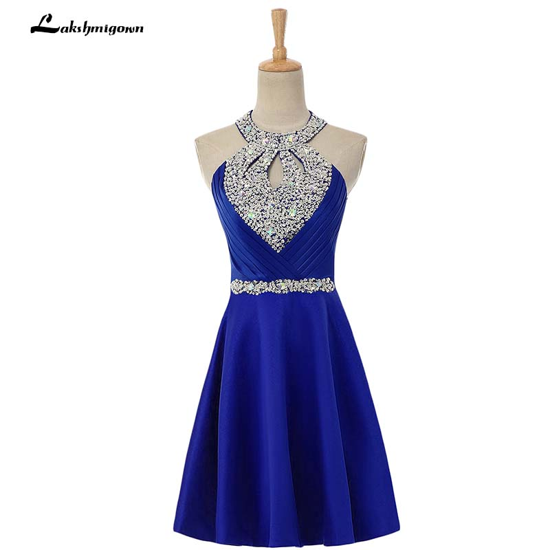 Real Image Royal blue Short Homecoming dress Knee Length Cocktail dress Backless Royal Blue 8th Grade Graduation Dresses
