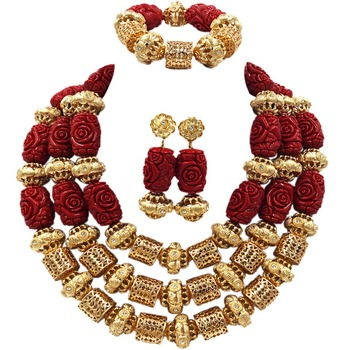 Dubai Gold Statement Necklace Red Artificial Coral Beads Jewelry Set Nigerian Wedding Bridal Jewelry Sets ACB-24