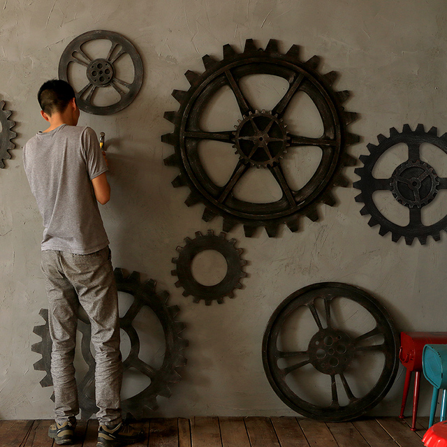 Vintage Wood Large Gear Wall Decoration Muons Hanging Loft Retro Bar Home Steampunk