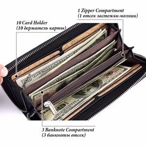Image 2 - KAVIS 2019 Famous Brand Men Wallets Genuine Leather Coin Purse Male Cuzdan  Clutch Long Business Walet Portomonee Magic Perse