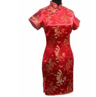 Red Chinese Traditional Bride Dress Vintage Satin Short Qipao Women Sexy Elegant Cheongsam S M L