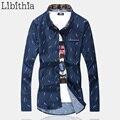 Мужские Лист Шаблон Рубашки Slim Fit Мужчины С Длинным Рукавом Большой размер 5XL 6XL 7XL Мужской Блузки Весна Осень Синий Белый Черный K33