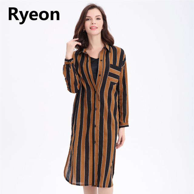 Ryeon Shirt Dress Y Beach Summer Autumn Plus Size Casual Women Striped Long Cotton Office Vintage