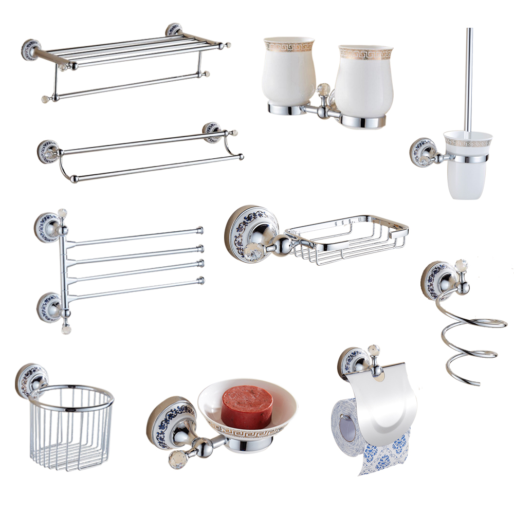 Antique Bathroom Accessories Hanging Suit Chrome Finish Ceramic Plate Antique Silver Crystal Bathroom Hardware Set simple bathroom ceramic wash four piece suit cosmetics supply brush cup set gift lo861050