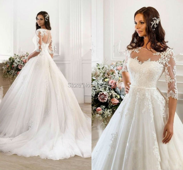 2015 Vintage Modest Lace Wedding Dresses With 3/4 Sleeve Cheap Sheer ...