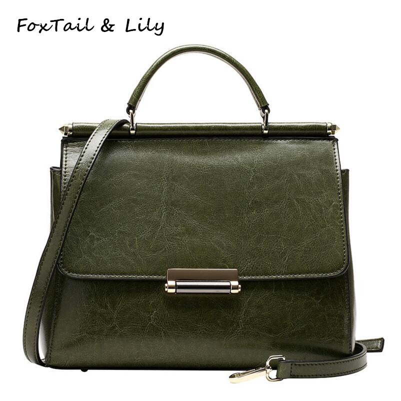 FoxTail & Lily Summer New 2017 Oil Wax Leather Small Flap Bag Women Tote Shoulder Crossbody Bags Elegant Ladies Luxury Handbags