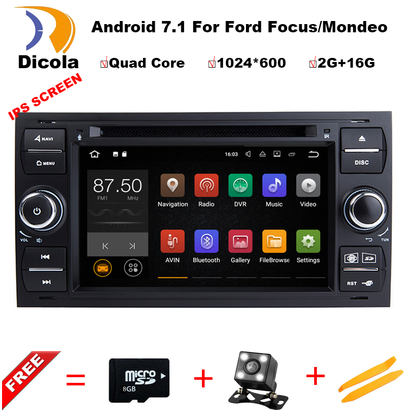 Android7.11 2 Din 7 Inch Car DVD Player For Ford/Focus/Mondeo/Transit/C-MAX/Fiest With GPS Navigation Radio BT 1080P Ipod FM Map цены