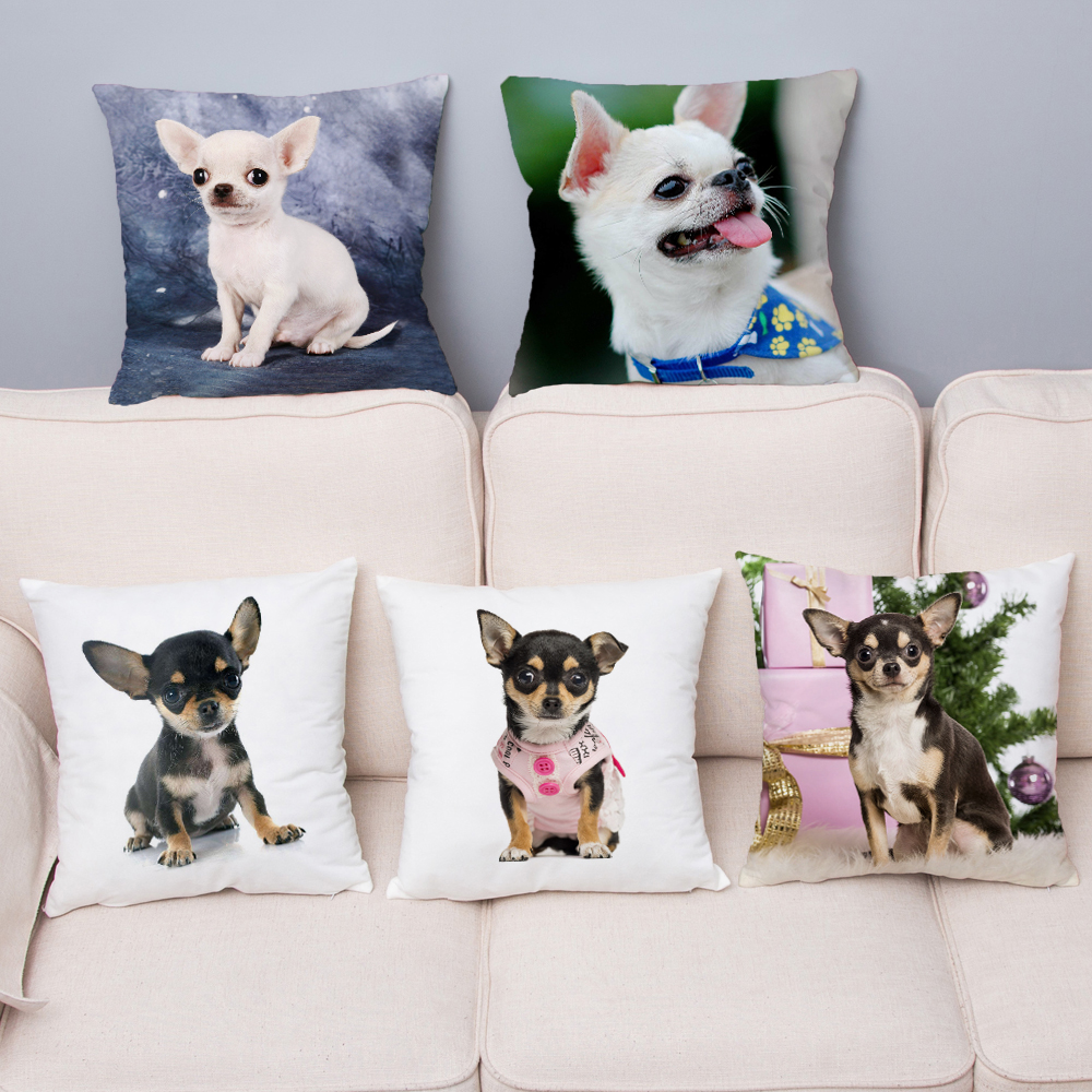 Cute MINI Chihuahua Dog Print Cushion Cover Super Soft Plush Pillow Covers 45*45 Throw Pillow Case Sofa Home Decor Pillowcase