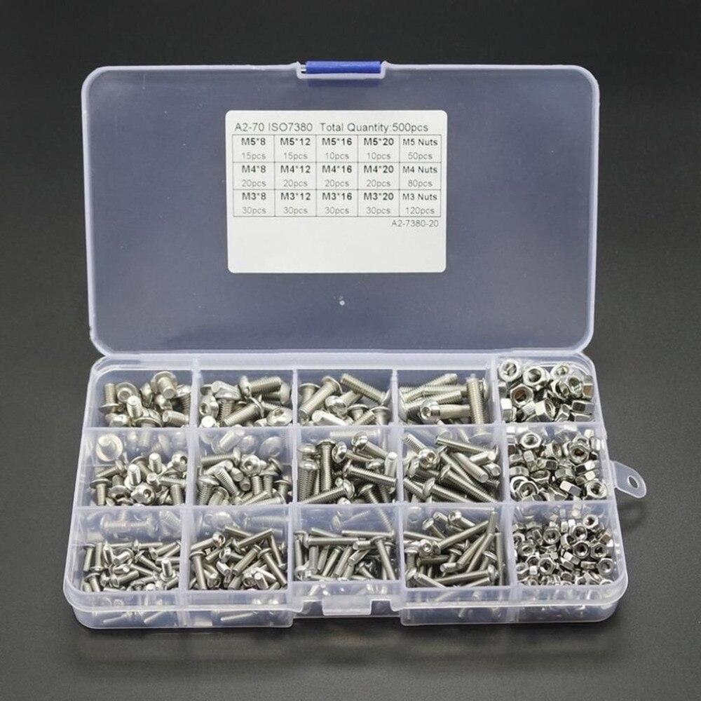 500 pcs M3M4M5 Noir de Carbone-En Acier Bouchon de Prise Vis À Tête Hexagonale Boulon Noix Assortiment Kit Meubles Fastener Assorted Kit