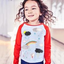 2017 Fashion spring brand Blouse Baby Girl Clothes Rainbow Long Sleeve Cartoon Happy Cute Tees Tops Shirts Cotton Knit Shirt