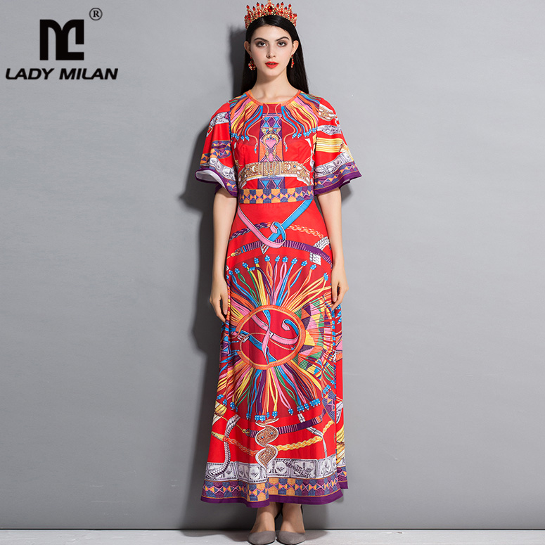 New Arrival 2018 Womens O Neck Half Sleeves Printed A Line Floral Casual Long Dresses