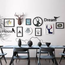 Europe Moose photo frame Wall Deer head wood picture frame set Wall photo frame set Living room Mural Creative Painting Pendant(China)