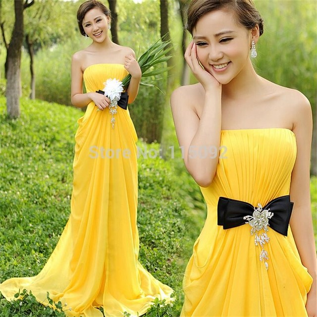 2017 Long Yellow Gold A Line Strapless Off The Shoulder Chiffon Top Bridesmaid Dress Bride Maid