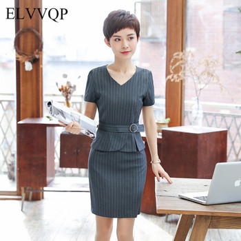 Vintage Striped Women Suit Plus Size 4XL Office Lady Suit Formal Wear Tailleur Robe Femme Ete 2018 Uniform Dresses for Work NW35 formal wear