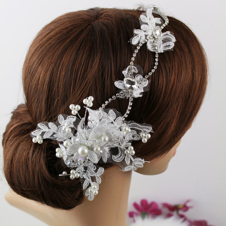 Wedding Hairstyle Prices: Lace Bride Hairbands Pearl Bridal Headpiece Hair Accessory