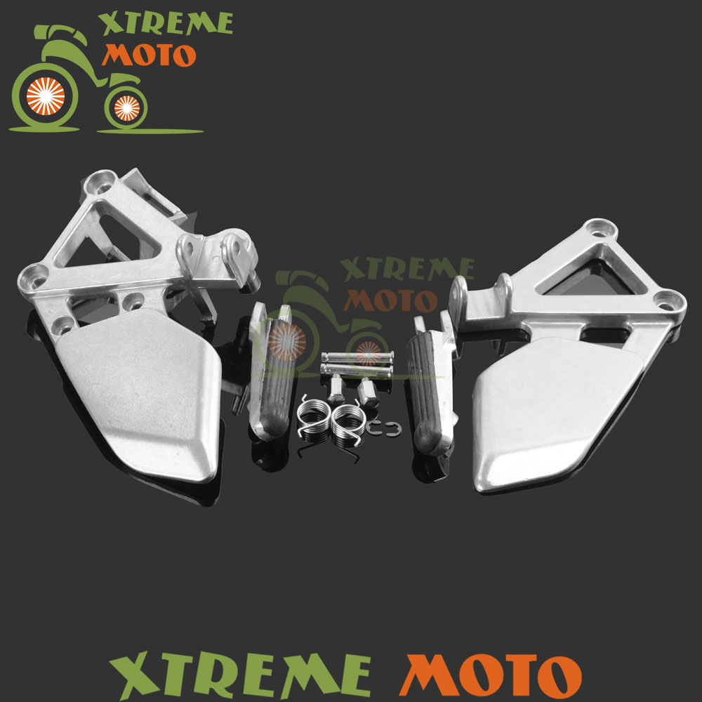 Motorbike Motocross Front Rider Footrests Foot Pegs Rests Pedals Tripod Brackets Mount For Honda CBR250 MC19 1988 1989