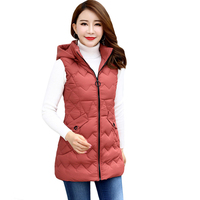 Plus Size M 4XL Women Winter Vests 2019 New Long Slim Vest Cotton Padded Jacket Sleeveless Female Hooded Waistcoat Vest D290