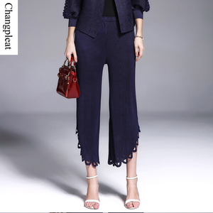 Changpleat Design Women's pants Miyake Pleated High waist Solid Elastic Black pantsFashion irregular wide leg pants Plus Size