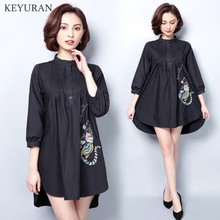 2018 Spring Autumn New Female Black Long Blouses Long Sleeve Casual Embroidery Shirts Women's Top and Blouses roupa feminina 5XL