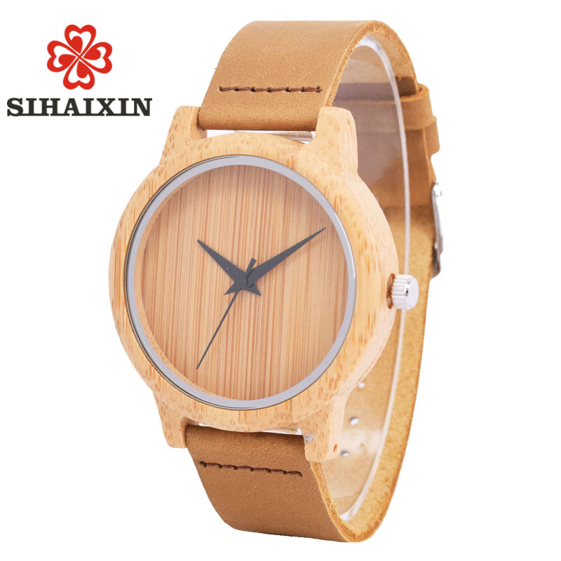 SIHAIXIN Bamboo Wood Casual Watches Women Wooden Clock For Men Genuine Leather Band Luxury Fashion Quartz Wristwatch Male Dress fashion cool punk rock design men quartz wooden watch modern black genuine leather watchband unique wood watches gift for male