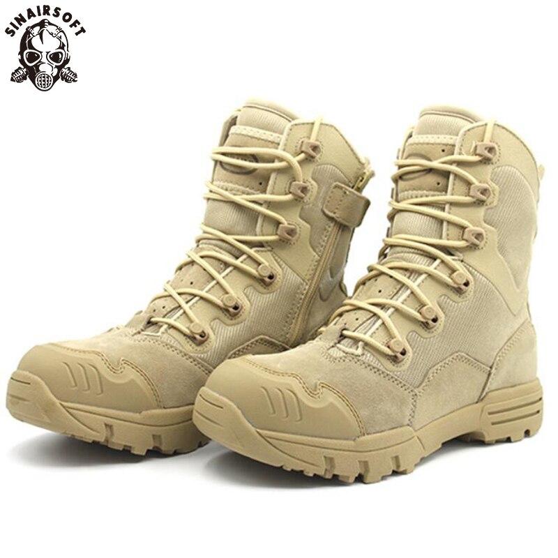 SINAIRSOFT udendørs ægte læder amerikanske militære angreb taktiske støvler åndbar anti-slip mænd fiskeri vandring sko