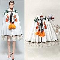 Европейская и американская женская одежда новая зимняя прекрасный кролик Блёстки вышитые WDecoration шерстяное пальто накидка с кисточкой Белы