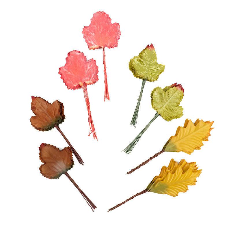 Hourong 24 pcs Maple lá Nhân Tạo Hoa Lá Hoa DIY Home Đảng Vòng Hoa Trang Trí Đám Cưới Scrapbooking Craft Hoa Giả