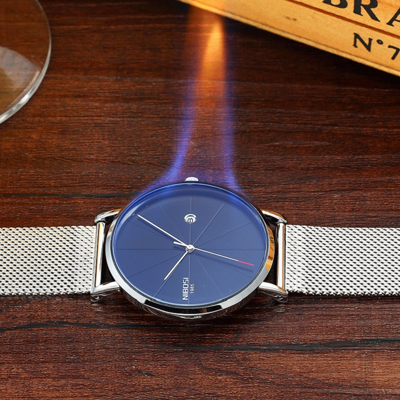 NIBOSI Luxury Brand Men Watch Ultra Thin Steel Strap Clock Male Quartz Simple Watch Waterproof Men's Casual Wristwatch