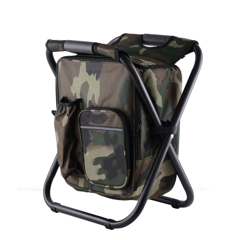 Beach Chairs Lower Price with Fishing Backpack Chair Keep Warm Cold Portable Folding Beach Chair Lightweight Camouflage Seat Camping 150kg Movable Refrigerat Outdoor Furniture