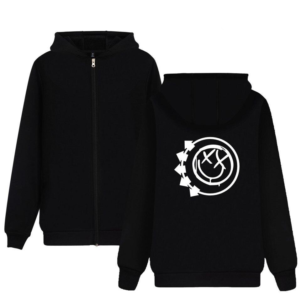 Punk Rock Band Blink-182 Logo Printed Sweatshirt Zipper Hoodie Blink 182 blink one eighty two Hoodie Zip-Up For Women Men