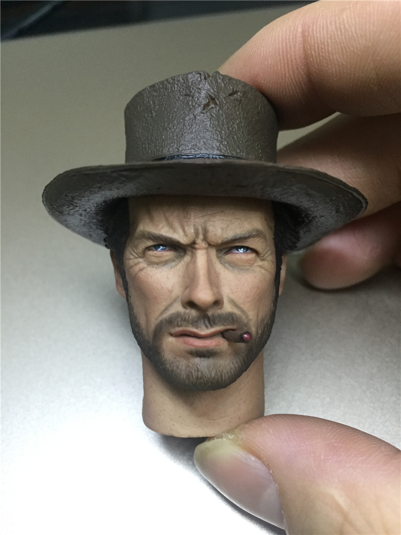 Eastwood Cowboy Male Head Scuplt 1//6 Scale For DIY 12 inch Hottoys Action Figure