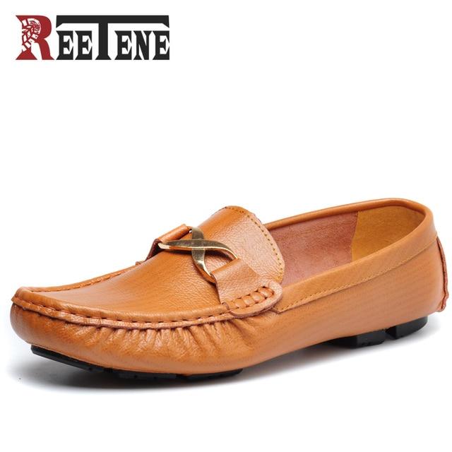 Hechos a mano, moda mocasines hombres de cuero, zapatos barco planos ocasionales.