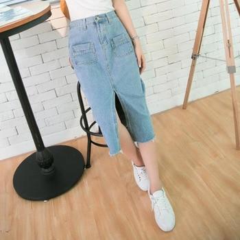 Summer Fashion Women A Line Demin Long Slit Skirts High Waist Elastic Front Split Long Style Light Blue Jeans Skirt for Girls a-line
