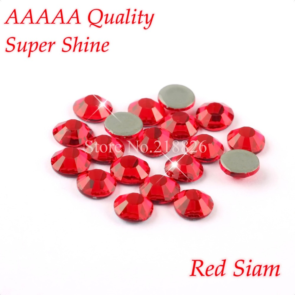 AAAAA Luxury Hotfix Rhinestone Red Siam SS6 SS10 SS16 SS20 Glass Crystals Flatback Iron On Hot Fix Rhinestones 1440pcs/Pack